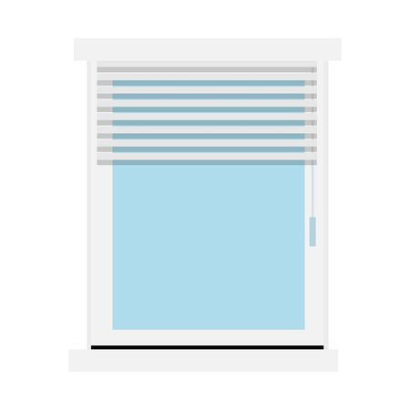 Blinds shut the window halfway vector flat material design isolated on white