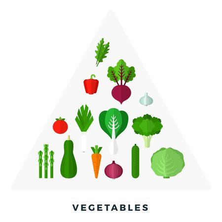 Pyramid of vegetables and herbs vector flat material design isolated on white