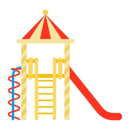 Childrens town with a slide and a ladder vector flat icon isolated on white