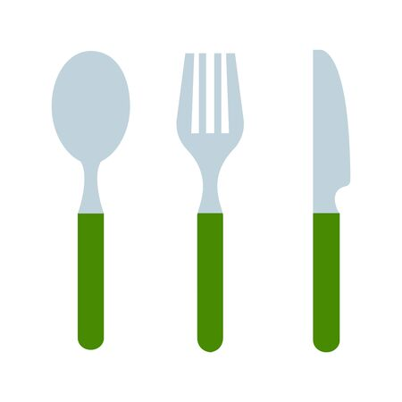 Cutlery of spoon knife and fork with green handgrip vector flat material design isolated on white