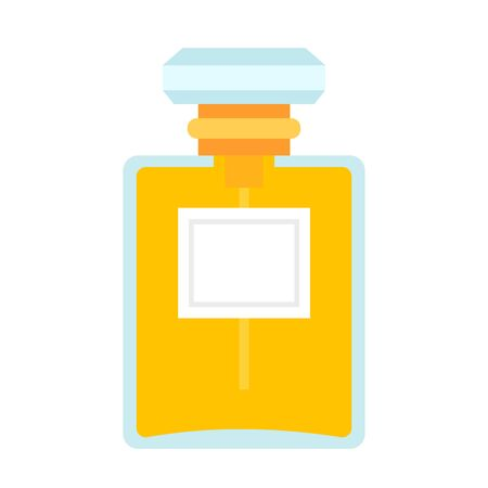 Female perfume in a glass bottle vector flat material design isolated on white