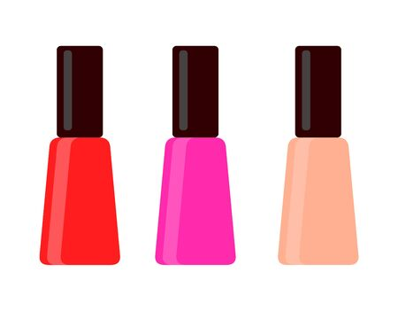 Bottles of Red, Crimson and peach colored nails polish vector flat material design isolated on white