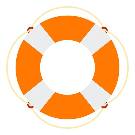 Lifebuoy for sea transport vector flat icon isolated on white