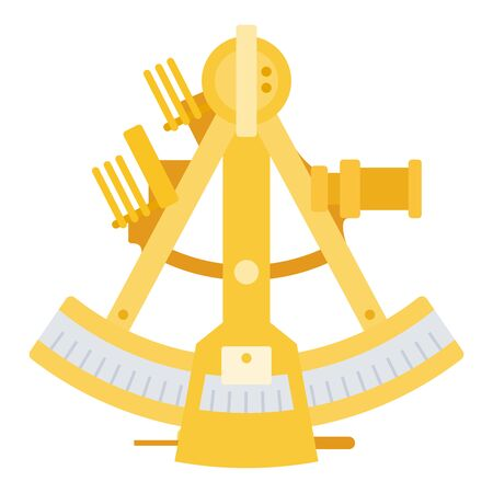 Marine sextant.Navigational tool for geodesic and astronomical observations. Sea sextant vector flat icon isolated on white Illustration