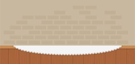 Wooden counter against a brick wall background vector flat isolated Ilustração