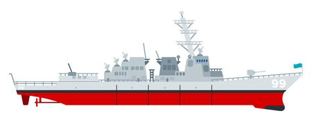 Missile cruiser vector flat icon isolated Ilustração Vetorial