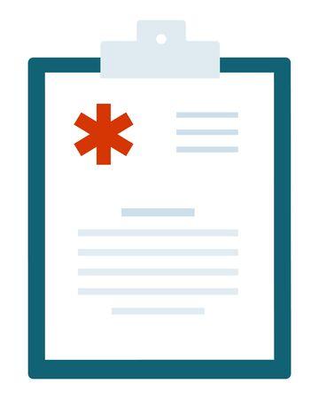 Hospital sheet in a folder vector flat icon isolated on white Vektoros illusztráció