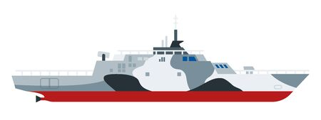 Helicopter landing ship vector flat icon