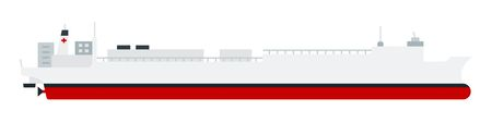 Marine sanitary vessel, hospital ship vector flat icon Illustration
