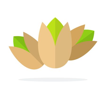 Drie noten van pistachenoten rechtop vector plat materiaalontwerp geïsoleerd op wit Vector Illustratie