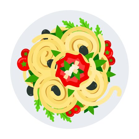Ready-made spaghetti with vegetables and herbs in a plate top view vector flat material design isolated on white Vektorové ilustrace