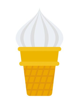 Ice cream in a waffle cup vector flat isolated Illustration
