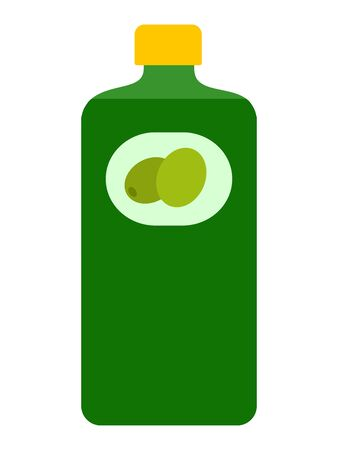 Bottle of olive oil flat icon vector isolated Çizim