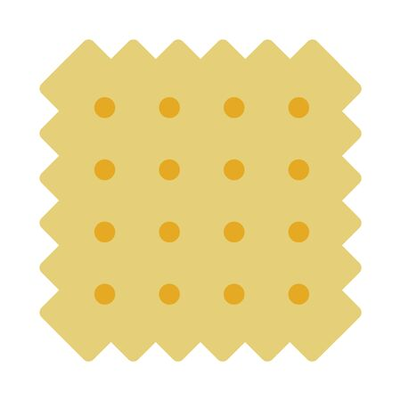 Wheat cracker in square shape vector flat material design isolated on white