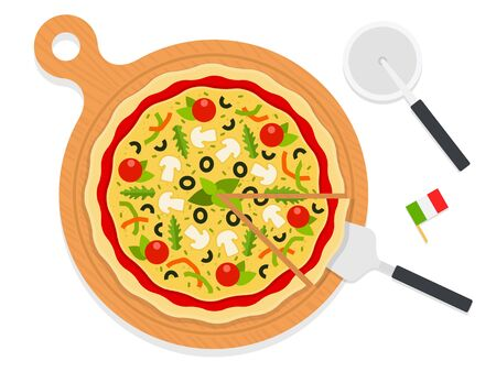 Italian pizza with mushrooms, pepper, tomatoes, olives on a wooden board. Pizza knife and spatula flat single icon vector isolated on white