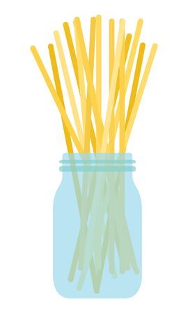 Spaghetti in a glass jar vector flat isolated