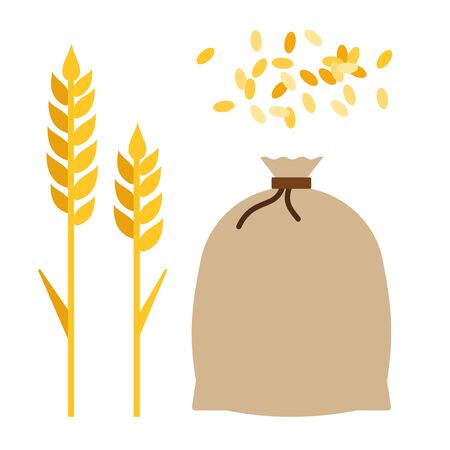 Wheat ears, jute bag with grain and a handful of wheat grains flat single icon vector isolated on white Ilustração
