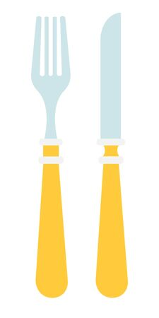 Cutlery with yellow handle flat icon vector isolated