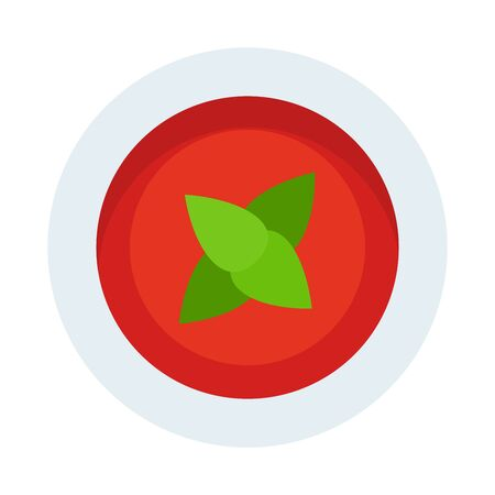 Tomato sauce with basil flat icon vector isolated