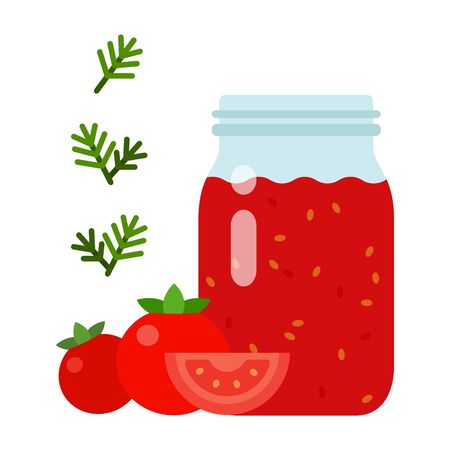 Tomato sauce in a glass jar with tomatoes and dill sprouts nearby vector flat material design isolated on white Illusztráció
