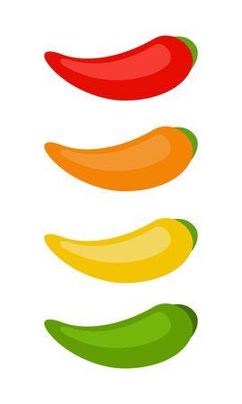 Conjunto de chiles en diseño de material plano de vector de color rojo, amarillo, verde y naranja aislado en blanco