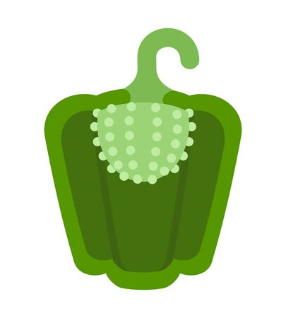Sweet green pepper in a cut vector flat material design isolated on white Illustration