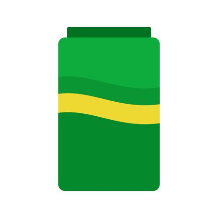 Green can with carbonated drink vector flat material design isolated on white