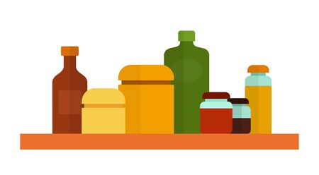 Kitchen containers and bottles for storing oil, flour, sugar, cereals and jam flat single icon vector isolated on white