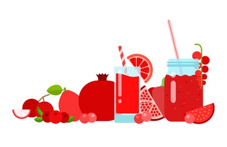 A glass with grapefruit juice, a can of currant smoothies, mango, pomegranate, lychee, mangosteen, figs, red pepper of red color vector flat material design isolated on white