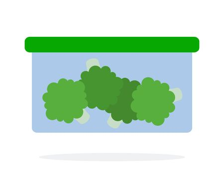 Broccoli in a lunch box vector flat material design isolated on white Ilustração