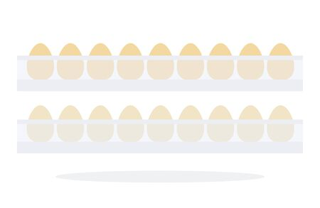 Eggs in refrigerated cells vector flat material design isolated on white