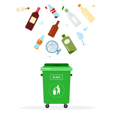 A glass, empty bottle for oil, a beer bottle, a wine bottle, jars for a sauce, broken mirror flying over a garbage can vector flat material design isolated on white