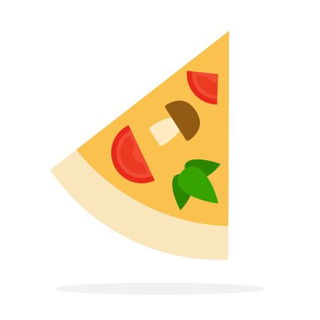Triangular slice of pizza vector flat material design isolated on white
