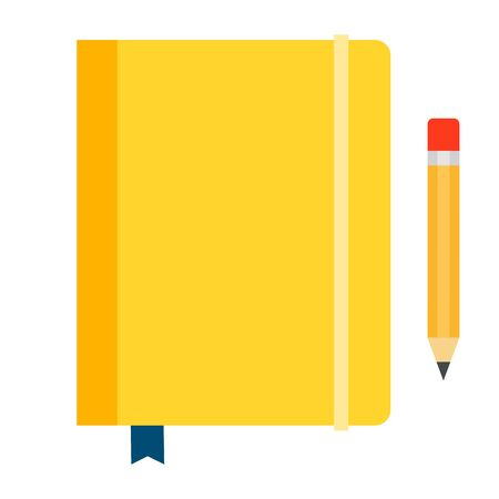 Yellow diary on elastic band with a bookmark and pencil vector flat icon isolated on white