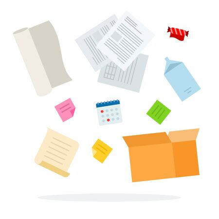 Paper trash for sorting. Documents, wrappers from sweets, a package of milk, a box, a calendar flat material design isolated on white