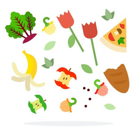 Food waste for trash sorting vector flat isolated