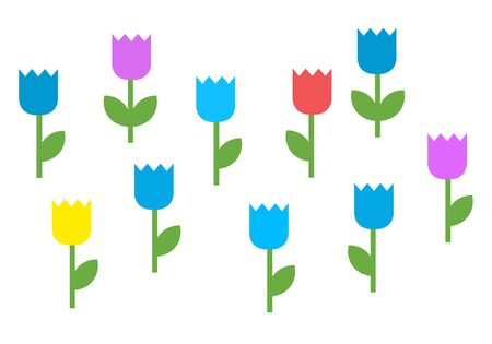 Colorful blooming flowers vector icon flat isolated