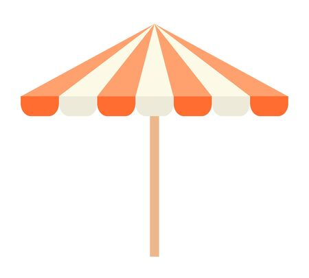 Open beach umbrella with stripes vector flat icon isolated on white Vector Illustration