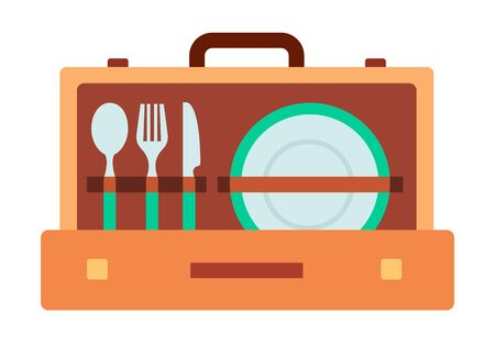 Set of tableware in suitcase vector icon flat isolated