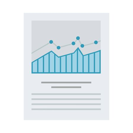 Comparative data as a graph printed on paper vector flat icon isolated on white Vectores