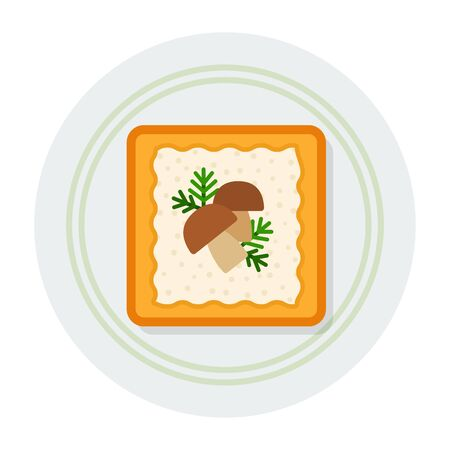 Square toast with cheese filling, dill and mushrooms on a plate top view vector flat icon isolated on white