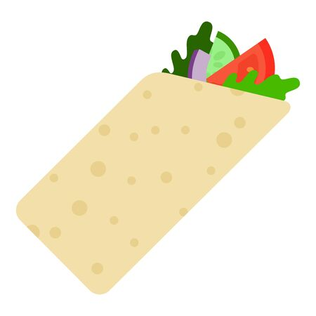 Vegetarian gyro, shaurma roll. Tomatoes, arugula, onions, zucchini wrapped in pita roll vector flat icon isolated on white
