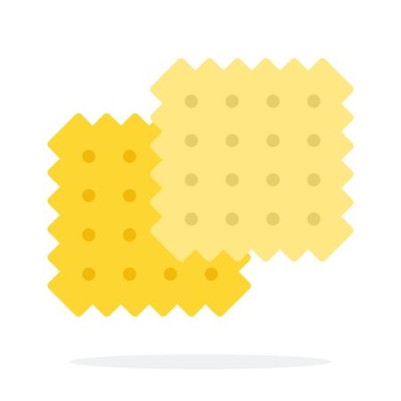 Tea biscuit vector flat material design object. Isolated illustration on white background.