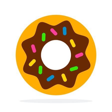 Donut with icing vector flat material design object. Isolated illustration on white background.