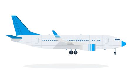 Passenger plane vector flat material design object. Isolated illustration on white background. 向量圖像