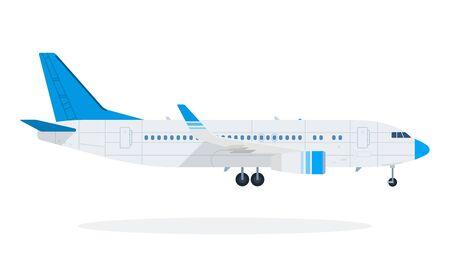 Passenger plane vector flat material design object. Isolated illustration on white background. Ilustração