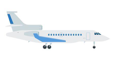 Passenger plane over long distances vector flat material design object. Isolated illustration on white background. Иллюстрация