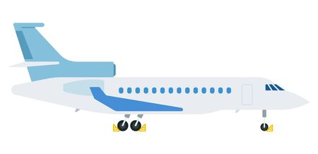 Aircraft parked vector flat material design object. Isolated illustration on white background.