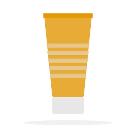 Sun cream in a tube vector flat material design object. Isolated illustration on white background.