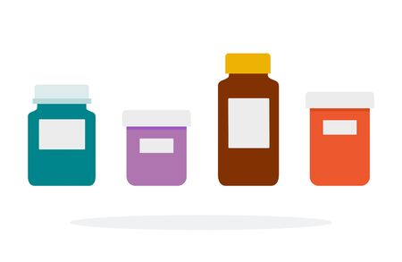 Medical bottle vector flat material design isolated object on white background.